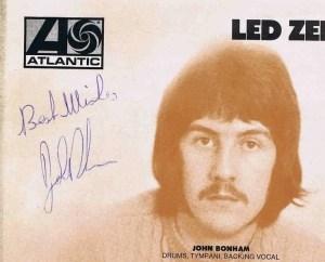 John Bonham autograph led zeppelin 4