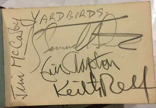 The Yardbirds with Eric Clapton Autographs