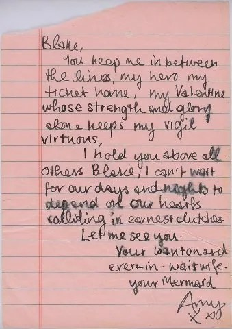 hand written letter by Amy Winehouse to Husband Blake