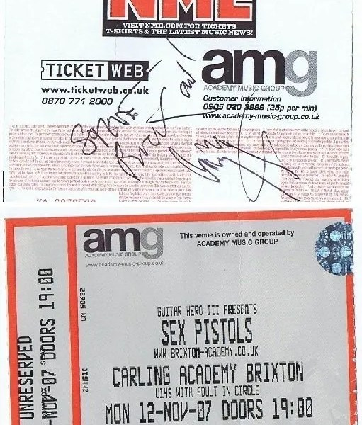 Jimmy Page autographed Concert ticket Sex Pistols 2007