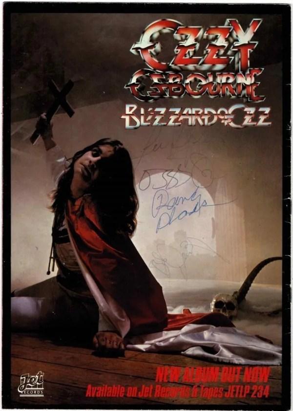 Ozzy Osbourne signed Blizzard of Ozz Tour programme with Randy Rhoads