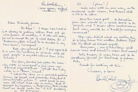 Paul McCartney handwritten letter to Prince.