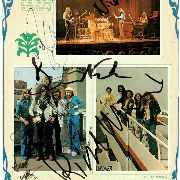 Pink Floyd signatures for sale 1975 with Nazareth autographs