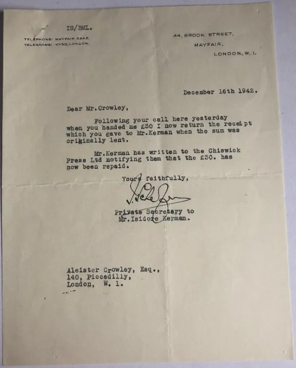 Aleister Crowley autograph note and letter