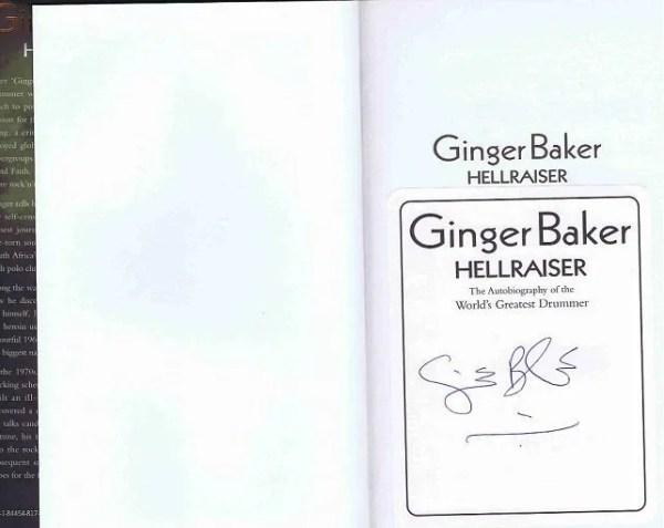 Ginger Baker signed Hellraiser book Autobiography
