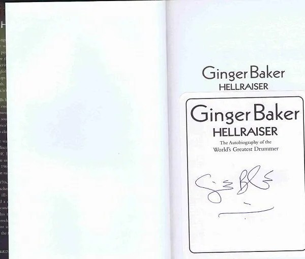 Ginger Baker signed Hellraiser book Autobiography