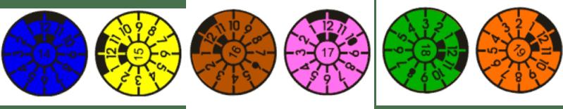 TÜV Plaketten Farben