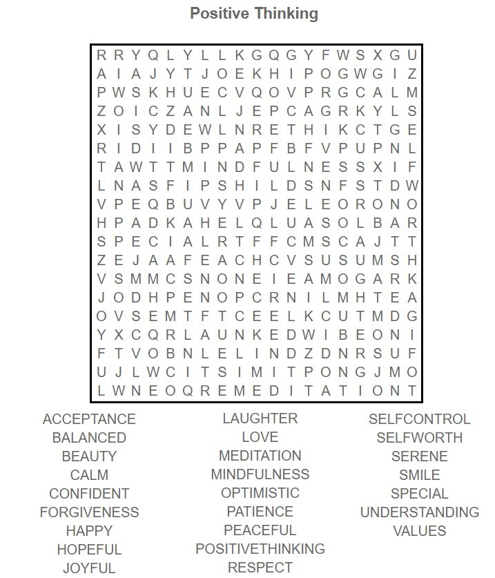 Positive Thinking word search - Cognitive Exercises for AE Patients