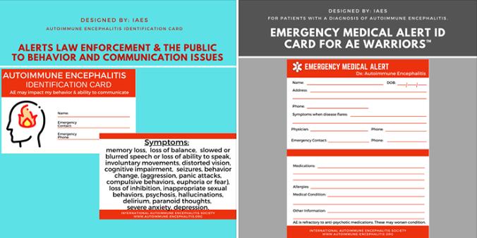 AE medical alert cards-behavior change-symptoms card
