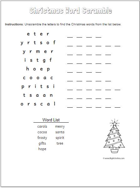 Christmas Tree Word Scramble-medium