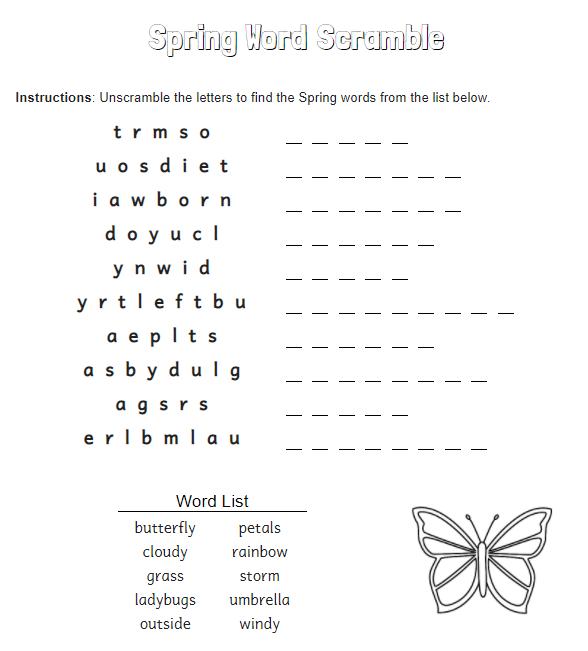 Spring word scramble