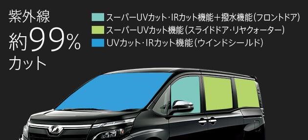 スーパーUVカット機能(フロントドア・スライドド ア・リヤクォーター)& IRカット機能付ガラス(フロントドア)