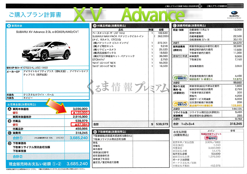 XV Advance見積書