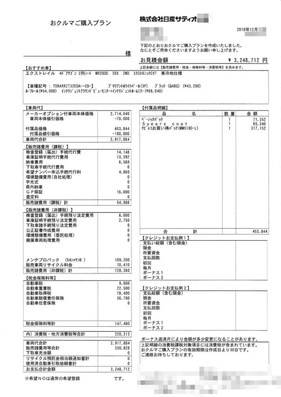 エクストレイルX ガソリンの値引き額は?