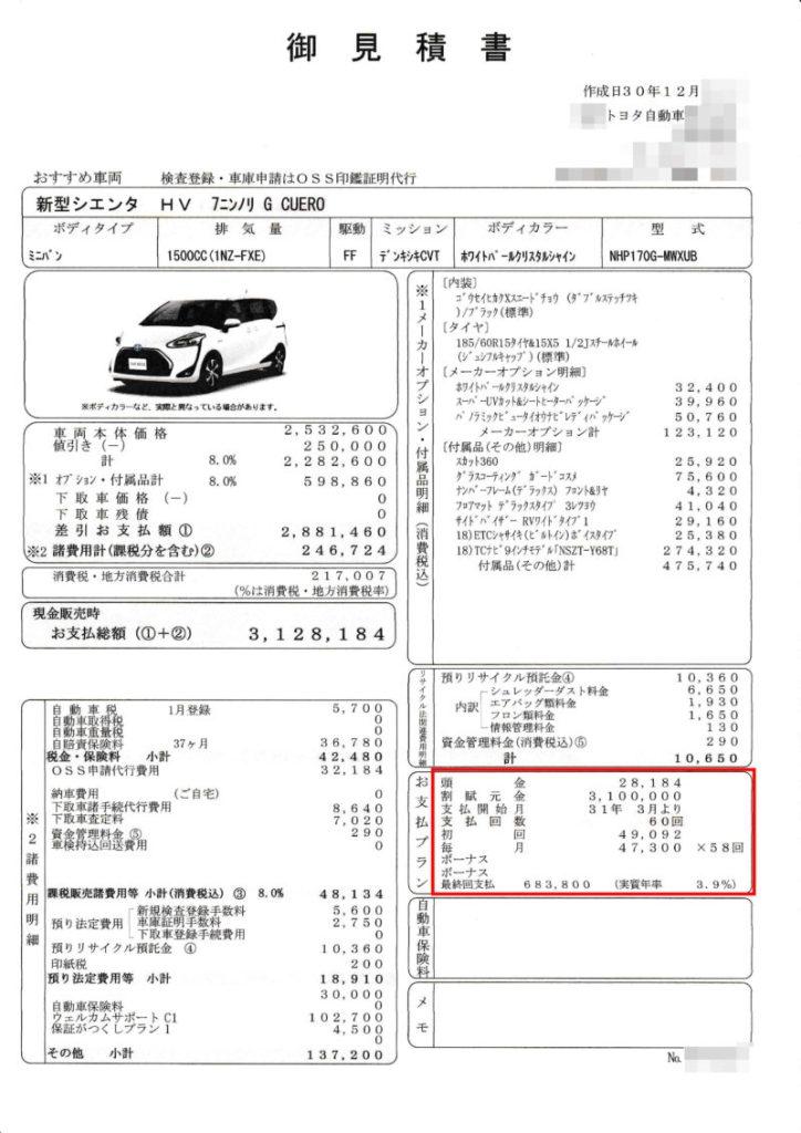 トヨタシエンタ ハイブリッドG Cueroの値引き額は?