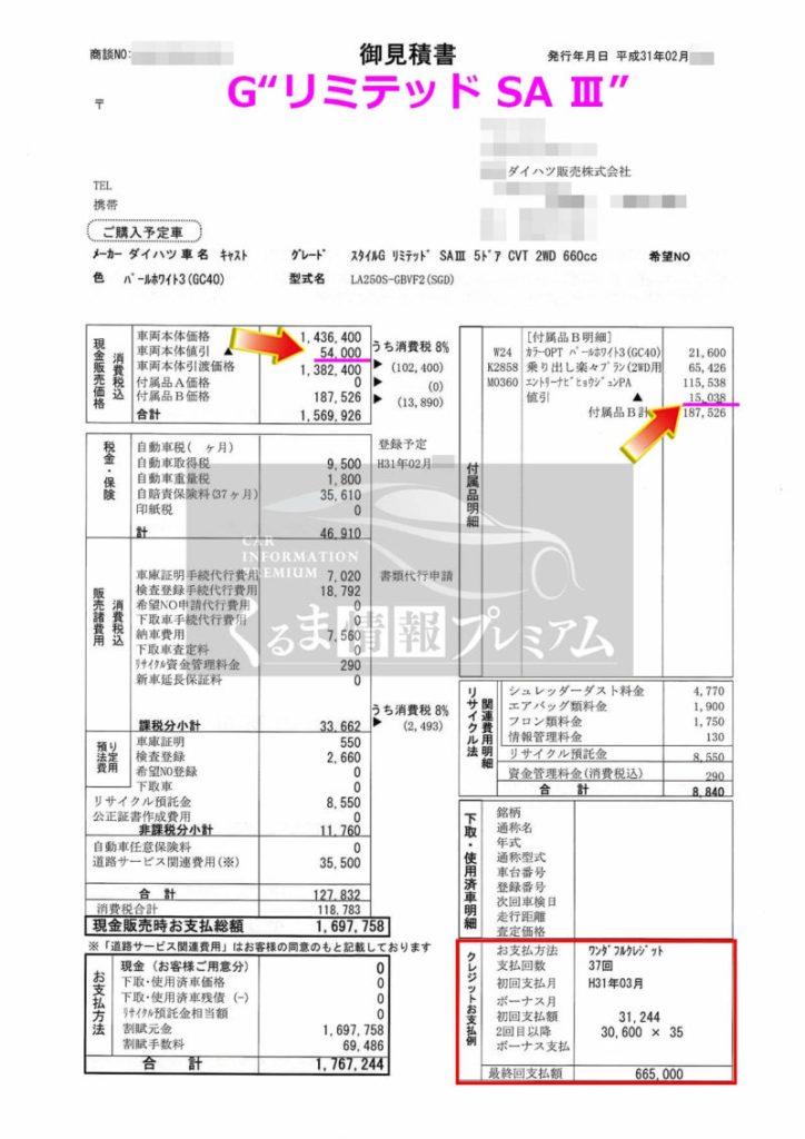 """キャストG""""リミテッド SA Ⅲ""""の値引き額は?"""
