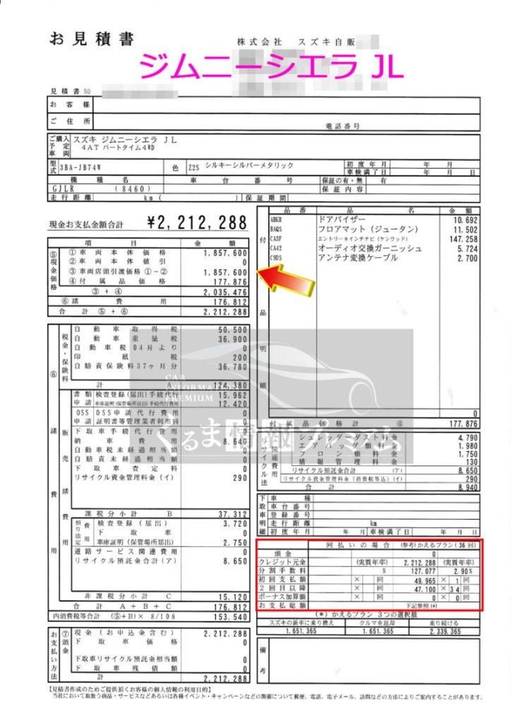 スズキジムニーシエラ JL の値引き額