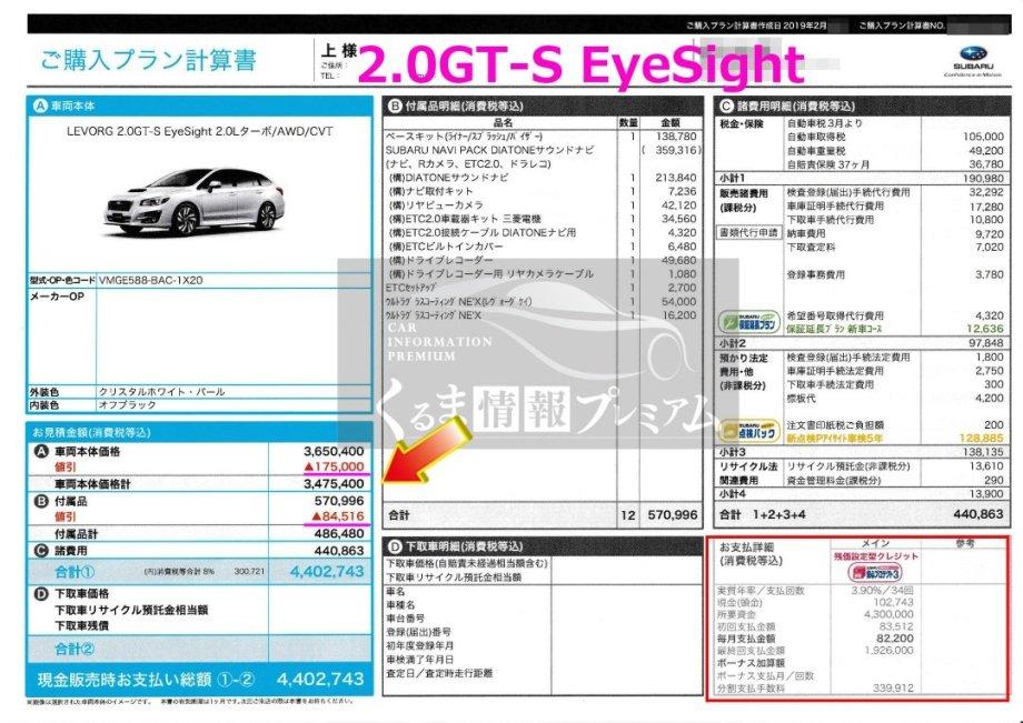 レヴォーグ 2.0GT-S EyeSightの値引き額は?