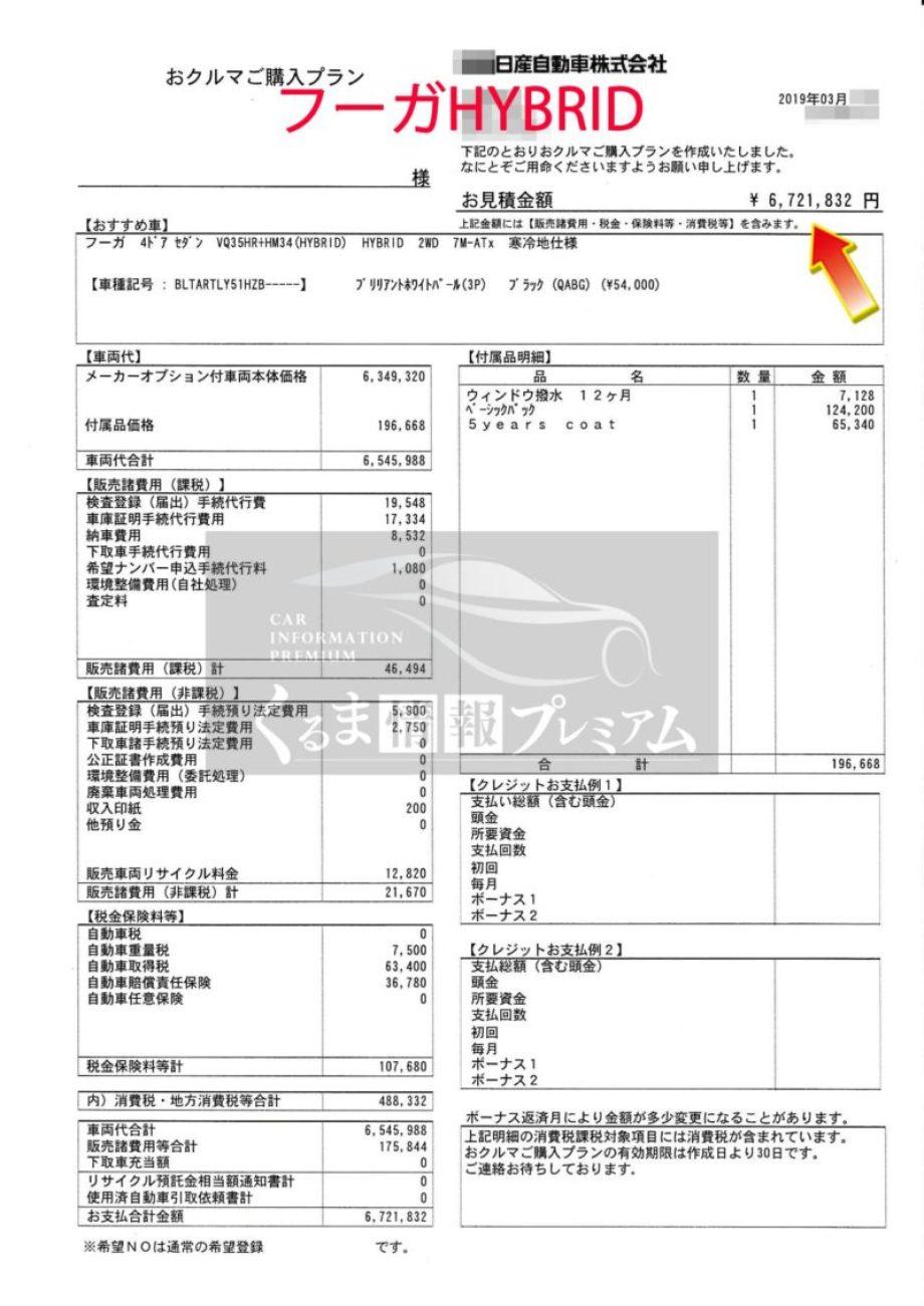 フーガ 350GT HYBRID Type SPの値引き額は?