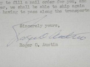 La signature de Roger O. Austin