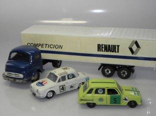 Renault Dauphine et R6 IKA et camion Mercedes de chez Ivi.