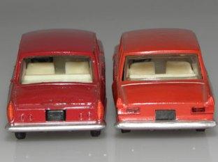 faces arrières Moskvitch Novoexport et Dinky Toys