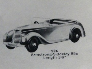 Dinky Toys Armstong Siddeley catalogue USA