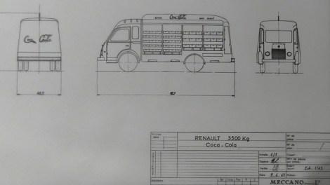 Dinky Toys plan Renault 3,5T brasseur Coca Cola (détail)