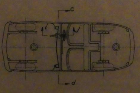 Dinky Toys PREMIER plan de la Simca 8 sport (pare brise en tôle)