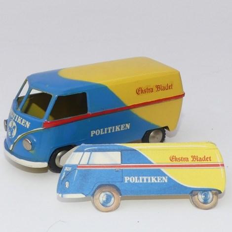 """Tekno Volkswagen van """" Politiken"""" au 1/45 avec le modèle en carton confirmant l'authenticité du modèle à l'échelle 1"""