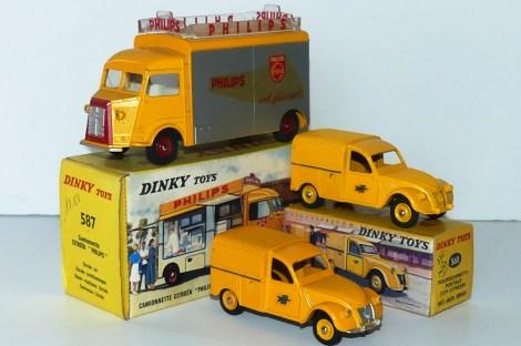 """Dinky Toys Citroën 1200Kgs """"Philips"""" et Citroën 2cv postes (avec ou sans finition argent)"""