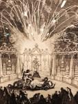 """Charles Nicolas Cochin """"Illumination et feu d'artifice donnés à Meudon pour le Dauphin le 3 Septembre 1735"""" gravure à eau forte et burin sur cuivre"""