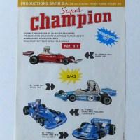 Safir Champion publicité pour la série des formules 1