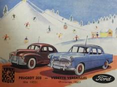 extrait du catalogue Norev : Vedette Versailles (!) et Peugeot 203
