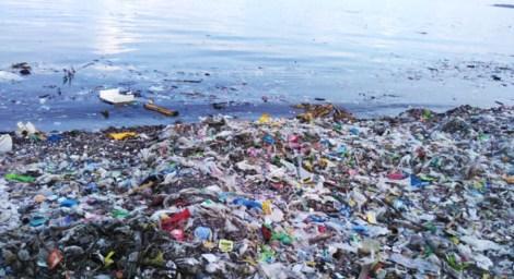 l'océan souillé de plastique