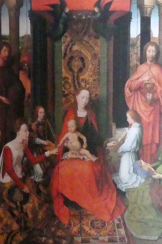 """Hans Menling """"la Vierge et l'enfant sur un trône """" avec saint Catherine d'Alexandrie"""