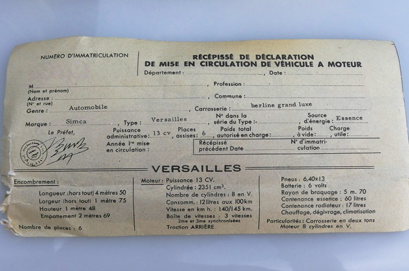 """Gégé Simca Versailles : la fiche """"carte grise"""""""