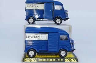 """Norev Citroën 1200Kgs fourgon """"Lévitan"""" variantes avec le modèle promotionnel"""