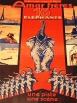 affiche cirque Amar avec les éléphants