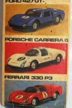 Photo Jean avec 3 autos de la saison 1966 Ford MkII, Porsche Carrera 6 et Ferrari 330P3