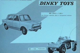 Manuel de ventes : Dinky Toys les nouveautés 1962 : AML Panhard et simca 1000
