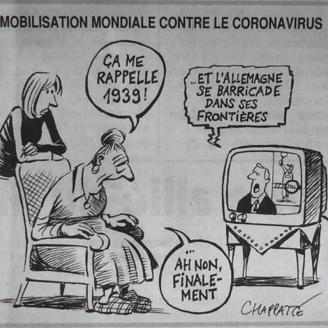 """Journal """"Le Canard enchainé """"du 18 Mars dessin de Chapatte."""