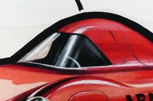 Solido gouache originale signé Jean Blanche Fiat Abarth de records (observez le large trait noir ceinturant le dessin)