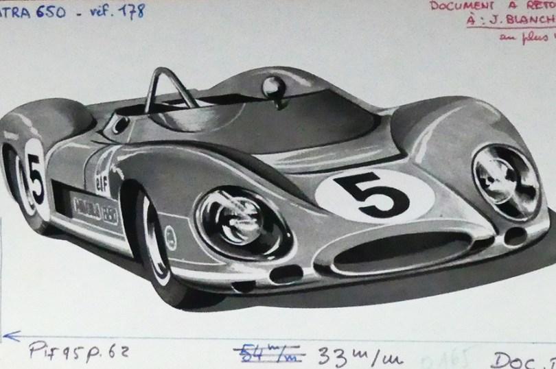 Solido dessin original à l'encre de Chine signé Jean Blanche : Matra 650