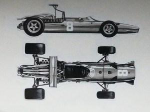 Solido dessin original à l'encre de Chine signé Jean Blanche : Ferrari 312 V12 F1 1968