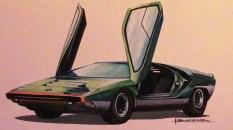 Solido gouache originale signé Jean Blanche Alfa Romeo Carabo avec le calque