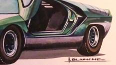 Solido gouache originale signé Jean Blanche Alfa Romeo Carabo