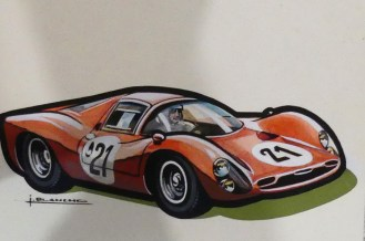 Solido gouache originale signé Jean Blanche Ferrari 330P3