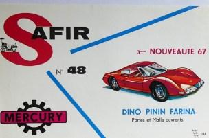 Mercury: affichette éditée par Safir en langue française pour promouvoir la gamme (Ferrari Dino)