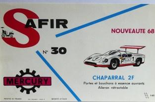 Mercury: affichette éditée par Safir en langue française pour promouvoir la gamme (Chaparral 2F)